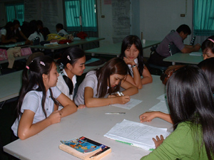 English language students at work
